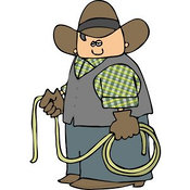 Clip Art of a Pudgy Cowboy Holding a Lasso Rope by Djart