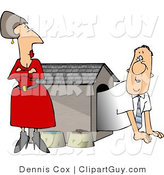 Clip Art of a Punished Man in a Dog House - Royalty Free by Djart