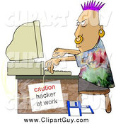 Clip Art of a Punk Computer Hacker at Work by Djart