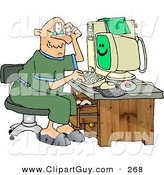 Clip Art of a Puzzled Caucasian Grandpa Using a Computer by Djart