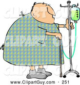 July 25th, 2013: Clip Art of a Recovering Chubby Male Hospital Patient Walking Around with a Cane and an Intravenous Injection Drip Line Stroller by Djart