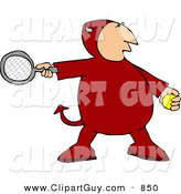 Clip Art of a Red Devil Playing Tennis Game by Djart
