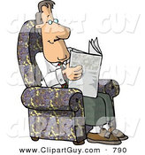 Clip Art of a Relaxing Man Sitting in His Chair and Reading the Newspaper by Djart