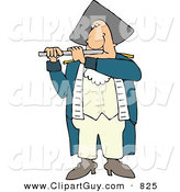Clip Art of a Revolutionary War Flutist Playing a Flute and Looking Forward by Djart