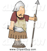 Clip Art of a Roman Army Soldier with a Sword and Spear by Djart