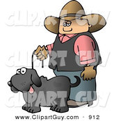 Clip Art of a - Royalty FreeCowboy Walking a Black Pet Dog on a Leash by Djart