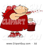 Clip Art of a Saint Valentine's Day Caucasian Cupid Blowing Love Hearts into the Air by Djart