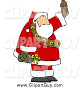 Clip Art of a Santa Waving While Holding a Bottle of Wine by Djart