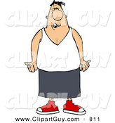Clip Art of a Scowling Homie Wearing a Wifebeater Shirt by Djart