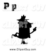 Clip Art of a Silhouetted Officer with Letters P by Hit Toon