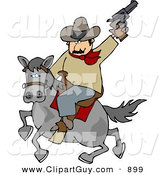 Clip Art of a Silly White Cowboy Riding Horse While Pointing and Shooting Gun into the Air by Djart