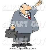 Clip Art of a Smiling White Businessman Waving Hello or Goodbye by Djart