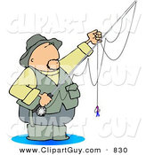 Clip Art of a Sporty Fly Fisherman Standing in Water with a Baited Hook on a Rod and Reel by Djart