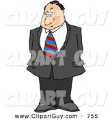 Clip Art of a Stern Businessman with a Disbelief Facial Expression and a Raised Eyebrow by Djart
