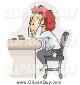 Clip Art of a Stressed Red Haired White Man Worried About Money Problems by BNP Design Studio