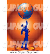 Clip Art of a Strong Successful Businessman in a Blue Suit Holding up Planet Earth over Orange by Tonis Pan