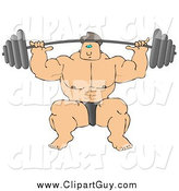 August 25th, 2014: Clip Art of a Strong White Male Bodybuilder Lifting Heavy Weights by Djart