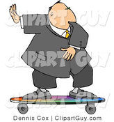Clip Art of a Successful Businessman in a Suit Riding on a Skateboard by Djart