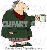 Clip Art of a Tired Man Wearing a Green Housecoat and Holding a Cup of Coffee During the Early Morning of His Day by Djart