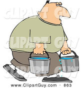 Clip Art of a Tired White Man Carrying Buckets of Water by Djart