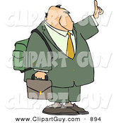 Clip Art of a Traveling White Businessman Trying to Get a Ride by Holding Hand out by Djart