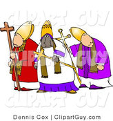 Clip Art of a Trio of Bishops Standing Together, One Is Ethnic by Djart