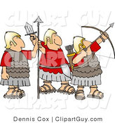 Clip Art of a Trio of Roman Soldiers Armed with Bow & Arrow, Sword, and Spear by Djart