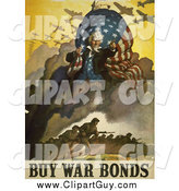 Clip Art of a Uncle Sam and Military Troops - Buy War Bonds Vintage Poster by JVPD