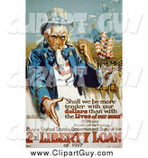 Clip Art of a Uncle Sam, Buy a United States Government Bond of the 2nd Liberty Loan of 1917 Vintage Poster Image by JVPD