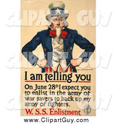 Clip Art of a Uncle Sam - I Am Telling You to Enlist in the Army of War Savers to Back up My Fighters Vintage Poster by JVPD