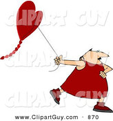 Clip Art of a Valentine's Day Caucasian Man Flying a Heart-shaped Kite by Djart