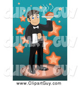 Clip Art of a Waiter Serving Hot Food by Mayawizard101