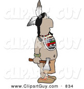 Clip Art of a Warrior Indian Standing with a Hatchet in His Hand by Djart