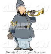 Clip Art of a White American Civil War Soldier Blowing into a Bugle Horn by Djart