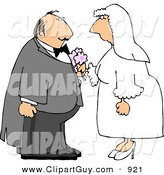 Clip Art of a White Bride and Groom on Their Wedding DayWhite Bride and Groom on Their Wedding Day by Djart
