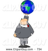 Clip Art of a White Businessman Holding the World in His Hand - Concept by Djart