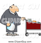 Clip Art of a White Businessman Pushing a Shopping Cart in a Grocery Store by Djart
