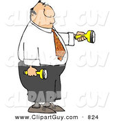 Clip Art of a White Businessman Shining Flashlights in Dark Places by Djart