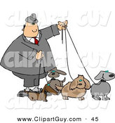 Clip Art of a White Businessman Walking Four Dogs on Leashes by Djart