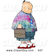 Clip Art of a White Businessman Wearing Colorful Hippie Clothing to His Work on Casual Friday by Djart