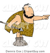 Clip Art of a White Caveman Holding a Spear and Pointing His Finger at Something by Djart