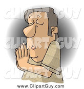 Clip Art of a White Christian Man Praying to Jesus by Djart