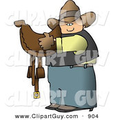 Clip Art of a White Cowboy Carrying a Brown Leather Horse Saddle by Djart