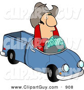 Clip Art of a White Cowboy Driving a Small Toy Pickup Truck by Djart