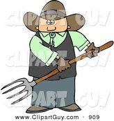 Clip Art of a White Cowboy Farmer Guy Holding a Pitchfork by Djart