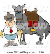 Clip Art of a White Cowboy Man Standing Beside a Saddled Horse by Djart