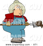 Clip Art of a White Cowboy Rancher Scooping Cattle Dung with a Shovel by Djart