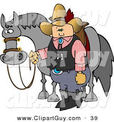 Clip Art of a White Cowboy Standing Beside His Saddled Horse While Holding the Reins by Djart