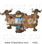 Clip Art of a White Cowboy Standing Beside Milk Cows with a Hot Branding Iron by Djart