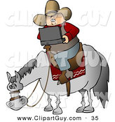 Clip Art of a White Cowboy Using a Portable, Wireless Laptop Computer While Sitting on a Saddled Horse by Djart